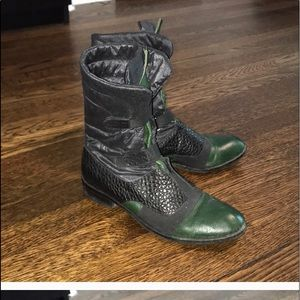 Gorgeous green leather boots with coolest black